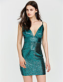 זול שמלות NYE-צווארון V מעל הברך אחיד - שמלה צינור סקיני בגדי ריקוד נשים / סקסית