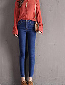 お買い得  レディースパンツ-女性用 ストリートファッション ジーンズ パンツ ソリッド