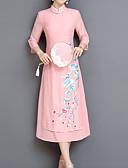 tanie Sukienki-Damskie Urlop Wzornictwo chińskie / Wyrafinowany styl Szczupła Pochwa Sukienka - Kwiaty, Haftowane Stójka Midi / Lato