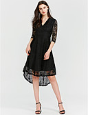 cheap Women's Dresses-Women's Going out Holiday Vintage Sheath Dress - Solid Colored Black, Lace High Rise Asymmetrical V Neck
