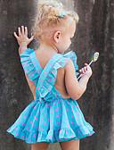 Χαμηλού Κόστους Φορέματα για κορίτσια-Νήπιο Κοριτσίστικα Ενεργό Καθημερινά / Αργίες Πουά / Στάμπα Εξώπλατο / Στάμπα Αμάνικο Βαμβάκι / Πολυεστέρας Φόρεμα Θαλασσί / Χαριτωμένο