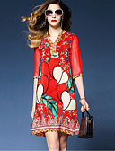 cheap Women's Tops-Women's Holiday Sophisticated Street chic Loose Loose Dress - Floral Red, Print V Neck
