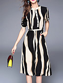 cheap Women's Dresses-Women's Holiday Street chic Swing Dress - Striped Print Stand / Summer