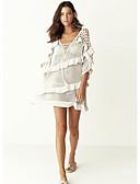 Χαμηλού Κόστους Παρεό-Γυναικεία Βασικό Στράπλες Λευκό Φούστα Που καλύπτει Μαγιό - Μονόχρωμο Ένα Μέγεθος Λευκό / Sexy