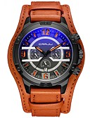 cheap Sport Watches-Men's Military Watch Japanese 30 m Water Resistant / Water Proof Chronograph Creative PU Band Analog Fashion Black / Blue / Red - Red Light Blue White / Brown Two Years Battery Life / Stainless Steel