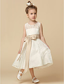 cheap Men's Sweaters & Cardigans-A-Line Tea Length Flower Girl Dress - Lace Sleeveless Jewel Neck with Lace / Sash / Ribbon / Pleats by LAN TING BRIDE®