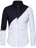 cheap Men's Shirts-Men's Basic Cotton / Polyester Slim Shirt - Color Block / Please choose one size larger according to your normal size. / Long Sleeve