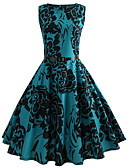 cheap Women's Dresses-Women's Going out Vintage Cotton Slim Swing Dress - Floral Blue, Print