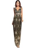 baratos Vestidos Longos-Mulheres Para Noite Delgado balanço Vestido Sólido Decote em V Profundo Cintura Alta Longo / Sexy