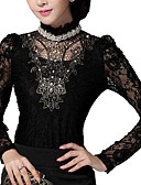 cheap Women's T-shirts-Women's Going out Blouse - Jacquard Lace Beaded Stand