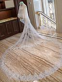 זול הינומות חתונה-שתי שכבות חתונה / ירח דבש הינומות חתונה צעיפי קפלה / צעיפי קתדרלה עם סגנון מוטיב פרחוני מפוזר ביד תחרה / טול / קלאסי