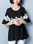 abordables Camisas y Camisetas para Mujer-Mujer Básico Encaje Camiseta Bloques