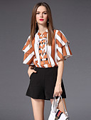 cheap Women's Tops-Women's Basic Plus Size Flare Sleeve Slim Blouse - Striped / Color Block Bow / Lace up