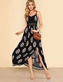 cheap Maxi Dresses-Women's Split Daily / Holiday Street chic Maxi Slim Swing Dress - Trees / Leaves Print V Neck Spring Cotton Black M L XL / Sexy