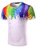 baratos Camisetas & Regatas Masculinas-Homens Camiseta Activo Arco-Íris