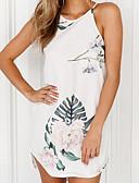baratos Blusas Femininas-Mulheres Moda de Rua Reto Vestido Floral Acima do Joelho Branco