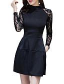 זול תחרה רומטנית-צווארון עגול קצר מיני תחרה, אחיד - שמלה נדן רזה סגנון רחוב ליציאה בגדי ריקוד נשים / סקסית
