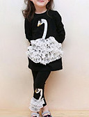 cheap Girls' Dresses-Girls' Daily Going out Holiday Patchwork Clothing Set, Cotton Spring Fall Long Sleeves Cartoon Lace White Black