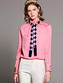 baratos Vestidos Femininos-Mulheres Camisa Social Básico Sólido Gola Redonda