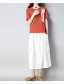ieftine Costum Damă Două Bucăți-Pentru femei Mărime Plus Size Sleeve Flare Bumbac / In / Acrilic Set - Mată, Pantaloni Plisată / Bumbac / Plisată / Primăvară