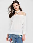 baratos Camisas Femininas-Mulheres Blusa - Para Noite Sólido Algodão Sem Alças