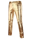 cheap Men's Jackets & Coats-Men's Punk & Gothic Slim Chinos Pants - Solid Colored Gold / Spring / Fall / Club