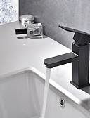 tanie Bluzka-Bateria do umywalki łazienkowej - Szeroko rozstawiona Malarstwo Umieszczona centralnie Jeden uchwyt Jeden otwór