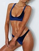 tanie Bikini i odzież kąpielowa 2017-Damskie Podstawowy Trójkątny Pasek Bikini - Odkryte plecy, Solidne kolory Dół typu Cheeky