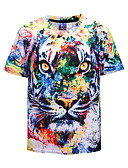 cheap Men's Tees & Tank Tops-Men's Street chic / Punk & Gothic T-shirt - Color Block / Animal V Neck / Short Sleeve