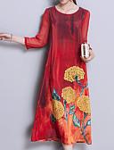 זול שמלות נשים-מקסי פרחוני משובץ - שמלה ישרה סגנון רחוב בוהו בגדי ריקוד נשים