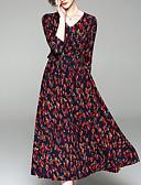 povoljno Ženske haljine-Žene Izlasci Ulični šik Slim A kroj / Korice Haljina Cvjetni print V izrez Midi / Ljeto