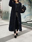 Недорогие Женские футболки-Жен. Повседневные Изысканный Зима Длинная Пальто с мехом, Однотонный Длинный рукав Мех осла Темно синий