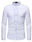 رخيصةأون قمصان رجالي-رجالي قميص رقبة طوقية مرتفعة - عتيق / أساسي لون سادة أبيض M / كم طويل