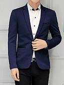 זול חולצות לגברים-בגדי ריקוד גברים יין כחול בהיר חאקי XXXL 4XL XXXXXL בלייזר אחיד בסיסי דש קלאסי רזה / שרוול ארוך / אביב / עבודה