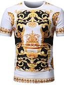 ieftine Maieu & Tricouri Bărbați-Bărbați Rotund - Mărime Plus Size Tricou Vintage / De Bază - Bloc Culoare Imprimeu / Manșon scurt / Vară / Zvelt