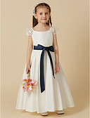 cheap Flower Girl Dresses-A-Line Ankle Length Flower Girl Dress - Taffeta Short Sleeve Scoop Neck with Bow(s) / Sash / Ribbon by LAN TING BRIDE®