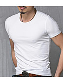 cheap Men's Tees & Tank Tops-Men's Active Plus Size Cotton T-shirt - Solid Colored Round Neck / Short Sleeve