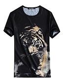 tanie Męskie spodnie i szorty-T-shirt Męskie Wzornictwo chińskie, Nadruk Jedwab Okrągły dekolt Zwierzę / Krótki rękaw