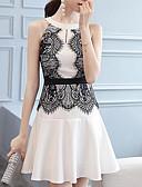 tanie Sukienki-Damskie Bawełna Szczupła Spodnie - Solidne kolory Koronka Wysoka talia Biały
