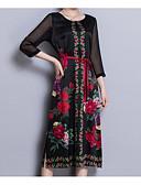ieftine Rochii de Damă-Pentru femei Șic Stradă / Chinoiserie Mărime Plus Size Mătase Zvelt Pantaloni - Floral Talie Înaltă Negru / Ieșire / Sexy