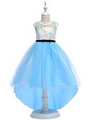 preiswerte Kleider für Mädchen-Kinder Mädchen Party / Ausgehen Blumen / Patchwork Druck Ärmellos Baumwolle / Polyester Kleid Blau / Niedlich