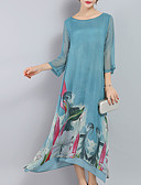 cheap Mother of the Bride Dresses-Women's Holiday Chinoiserie Loose Swing Dress - Floral Blue, Print Maxi