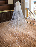 cheap Wedding Veils-One-tier Cut Edge New Arrival Wedding Veil Chapel Veils Cathedral Veils 53 Heart Scattered Bead Floral Motif Style Lace Tulle