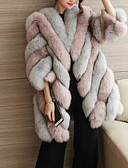 cheap Women's Fur Coats-Women's Plus Size Faux Fur Fur Coat - Color Block