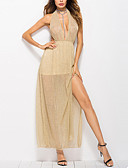 abordables Vestidos de Mujer-Mujer Festivos Chic de Calle Algodón Delgado Corte Swing Vestido - Frunce / Retazos, Un Color Alta cintura Maxi Halter / Sexy