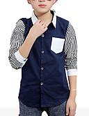 baratos Camisas para Meninos-Para Meninos Camisa Listrado Primavera Outono Algodão Manga Longa Branco Preto Azul Marinho