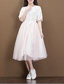 preiswerte Damen Kleider-Damen Baumwolle A-Linie Kleid Solide Midi