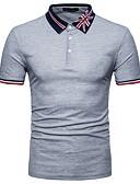 tanie Męskie koszulki polo-Polo Męskie Podstawowy, Niejednolita całość Bawełna Kołnierzyk koszuli Wielokolorowa / Krótki rękaw