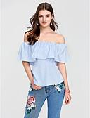 cheap Women's T-shirts-Women's Cotton T-shirt - Striped Boat Neck