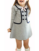 cheap Girls' Dresses-Girl's Solid Colored Dress, Rabbit Fur Cotton Winter Fall 3/4 Length Sleeves Bow Navy Blue Gray